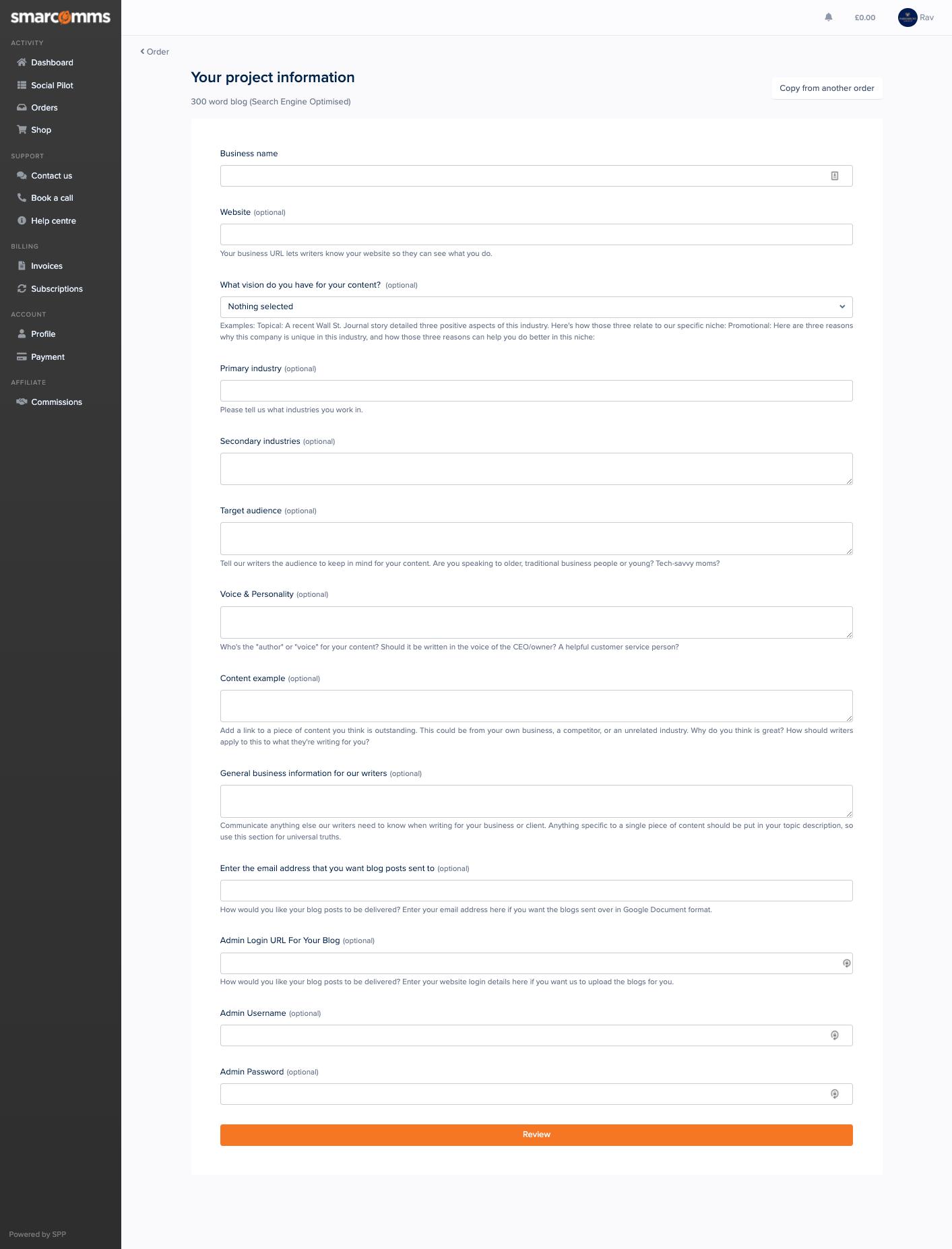 Smarcomms SEO blog intake form